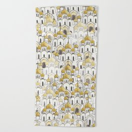 golden Russian cathedral church pattern Beach Towel