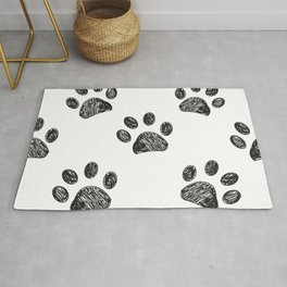 Black Paw Print Background Rug