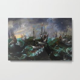 New England Ships and Whales in a Tempest by by Hendrick Cornelisz Vroom Metal Print