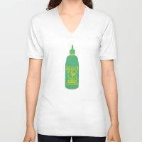 sriracha V-neck T-shirts featuring Sriracha, The hot sauce boss  by Tricia Robinson