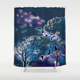 winter night scene Shower Curtain