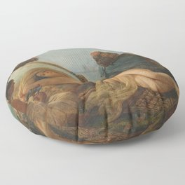 François-Auguste Biard - Odalisque Fanned by her Slaves Floor Pillow