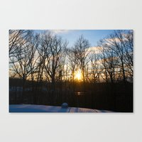 rileigh smirl Canvas Prints featuring Snowy Sunset by Rileigh Smirl