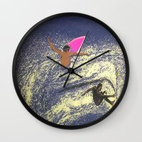 surfing Wall Clocks featuring SURFING by aztosaha