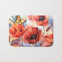 watercolor poppies Bath Mat
