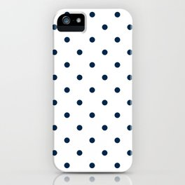 Navy Blue & White Polka Dots iPhone Case