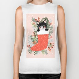 Cat on a sock. Holiday. Christmas Biker Tank