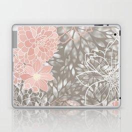 Floral Pattern Dahlias, Blush Pink, Gray, White Laptop & iPad Skin