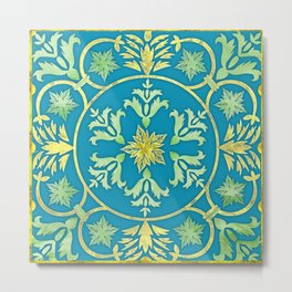 Golden Tirquoise floral pattern Metal Print