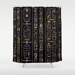Egyptian hieroglyphs pattern Gold Lapis Lazuli #2 Shower Curtain