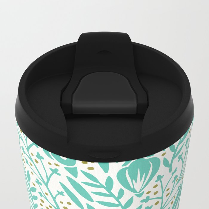 Adventure is Calling – Turquoise & Gold Palette Metal Travel Mug