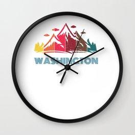 Retro Mountain Washington Design  for Men Women and Kids Wall Clock