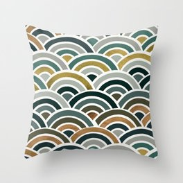 Japanese Seigaiha Wave – Teal & Bronze Palette Throw Pillow