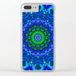 green blue kaleidoscope Clear iPhone Case