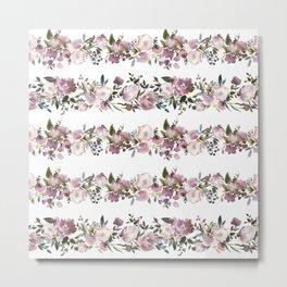 Girly pink lilac teal watercolor floral stripes pattern Metal Print