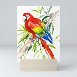 Scarlet Macaw, jungle tropical home decor bright colored parrot foliage Mini Art Print