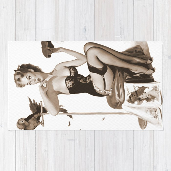 002cce7e5f3 No You Don t by Gil Elvgren Sepia Pin Up Girl Rug by purelove