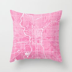 Indianapolis map pink Throw Pillow