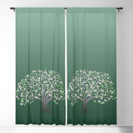 apple tree with blossom on the green gradient Blackout Curtain