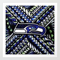 seahawks Art Prints featuring Seahawks new tribal look by Lonica Photography & Poly Designs