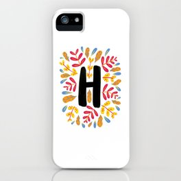 Letter 'H' Initial/Monogram With Bright Leafy Border iPhone Case