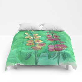 Hollyhock Foxglove Watercolor Honey & Berry on Green Comforters