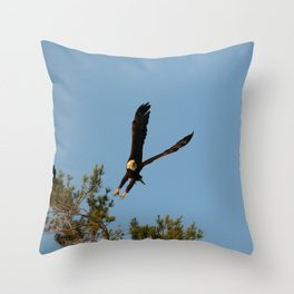 The Crow And Bald Eagle Throw Pillow
