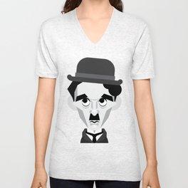 Charlie Chaplin Vector Caricature Unisex V-Neck