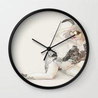 koi Wall Clocks featuring Koi by Xiuyuan Zhang