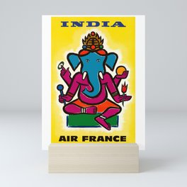 1950 India Air France Ganesha Airline Poster Mini Art Print