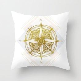 Golden Compass Throw Pillow