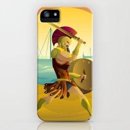 trojan warrior in beach near trireme greek ships iPhone Case