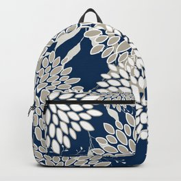 Festive, Floral Leaves and Blooms, Blue and Gray Backpack