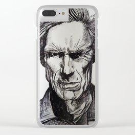 Clint Eastwood Pen portrait Clear iPhone Case