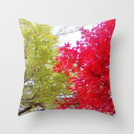 Competing Fall Trees Throw Pillow