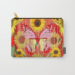 ABSTRACT  RED BUTTERFLY  SUNFLOWER FLORAL GARDEN Carry-All Pouch