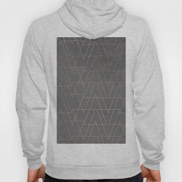 Modern rose gold geometric triangles blush pink abstract pattern on grey cement industrial Hoody