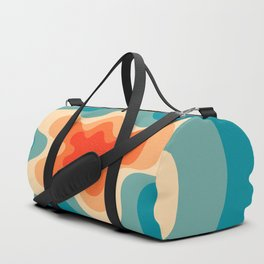 Retro 80s Blue and Orange Mid-Century Minimalist Abstract Art Duffle Bag
