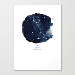 Zodiac Star Constellation - Pisces Canvas Print