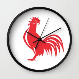 Chicken Rooster Crowing Retro Wall Clock