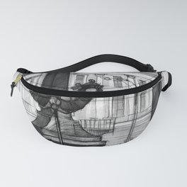 Graphic drawing of a city landscape, detailed study of elements of streets and bridges. Fanny Pack
