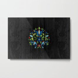 folk flowers dark Metal Print