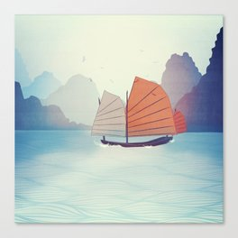Chinese Boat on the water Canvas Print