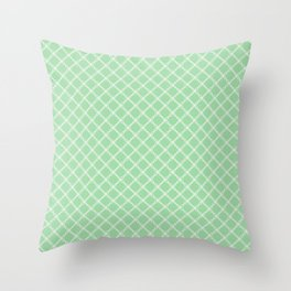 Linen White Scroll Grid Pattern on Pastel Melon Green Pairs to 2020 Color of the Year Neo Mint Throw Pillow