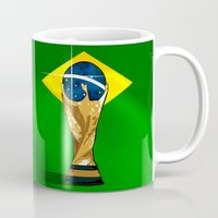 brazil Mugs featuring Brazil 2014 by The Vector Studio