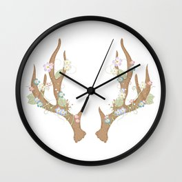 Antlers with flowers and leaves Wall Clock