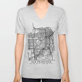 SAN FRANCISCO CALIFORNIA BLACK CITY STREET MAP ART Unisex V-Neck