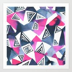 Geo Triangle Pink Navy Art Print