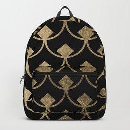 Modern black faux gold scallop triangles geometrical Backpack