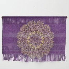 Golden Flower Mandala on Textured Purple Background Wall Hanging